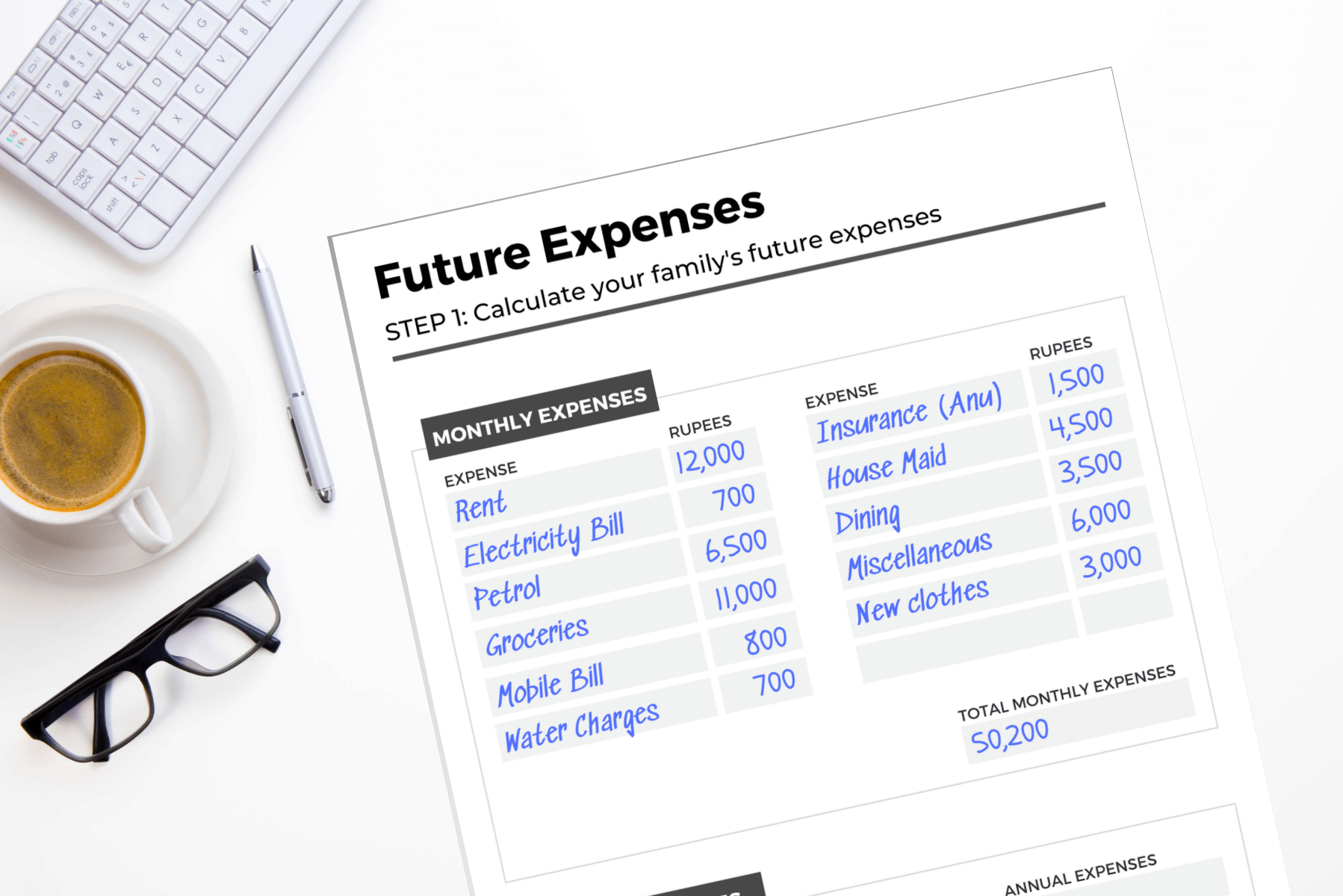 Life Insurance Workbook Monthly Expenses